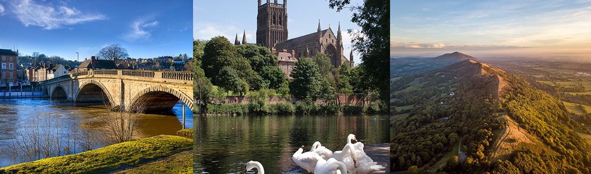 Images of Worcestershire showing Worcester Cathedral, The Malvern Hills and Bewdley