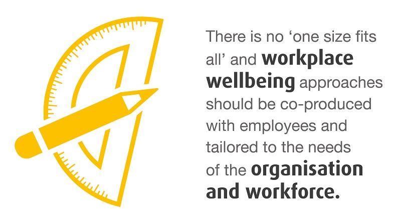 There is no 'one size fits all' and workplace wellbeing approaches should be co-produced with employess and tailored to the needs of the organisation and workforce.